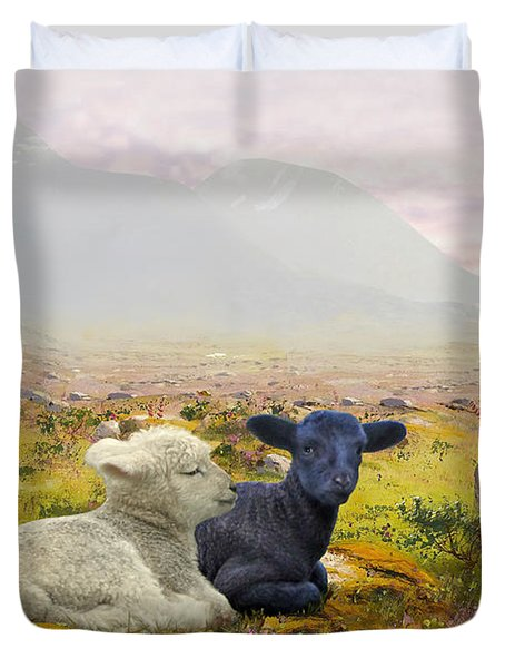 Lambs On A Hillside Duvet Cover
