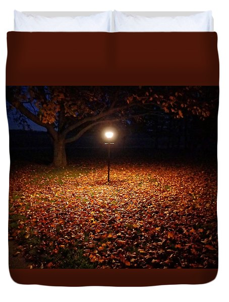 Duvet Cover featuring the photograph Lamp-lit Leaves by Lars Lentz