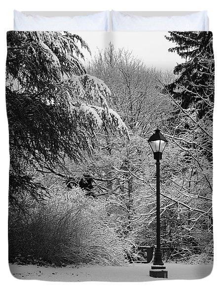 Lamp Post In Winter - B/w Duvet Cover