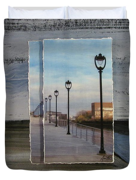 Lamp Post Row Layered Duvet Cover by Anita Burgermeister