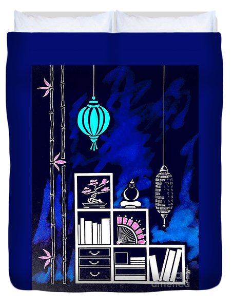 Lamps, Books, Bamboo -- Negative Duvet Cover