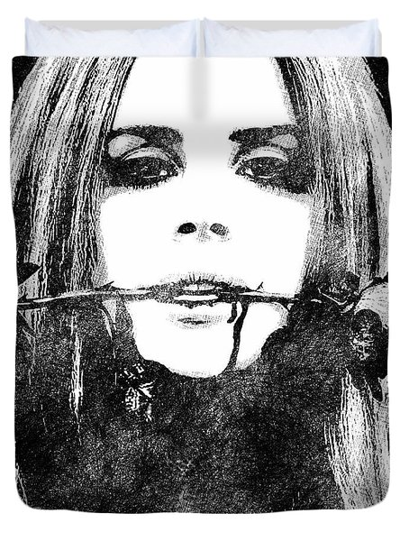 Lana Del Rey Bw Portrait Duvet Cover by Mihaela Pater