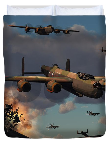 Lancaster Heavy Bombers Of The Royal Duvet Cover by Mark Stevenson