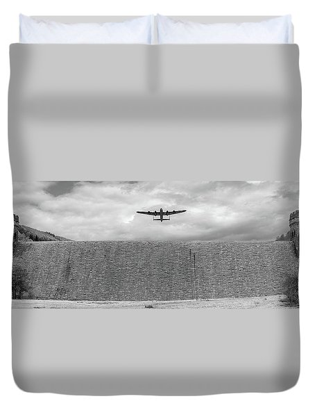 Duvet Cover featuring the photograph Lancaster Over The Derwent Dam Bw Version by Gary Eason
