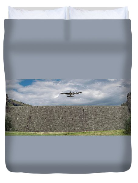 Duvet Cover featuring the photograph Lancaster Over The Derwent Dam by Gary Eason