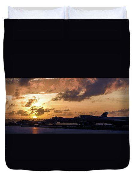 Duvet Cover featuring the photograph Lancer Flightline by Peter Chilelli