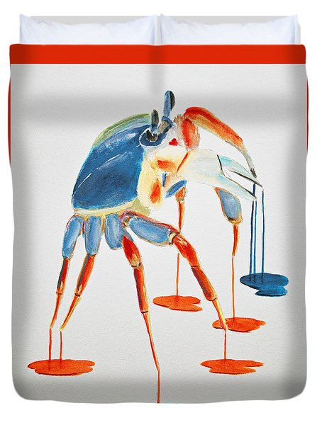 Land Crab Fight Stance Duvet Cover