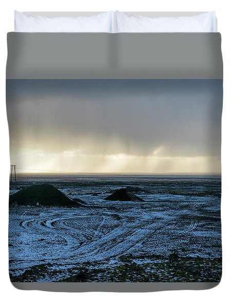 Duvet Cover featuring the photograph land of Lava by Dubi Roman