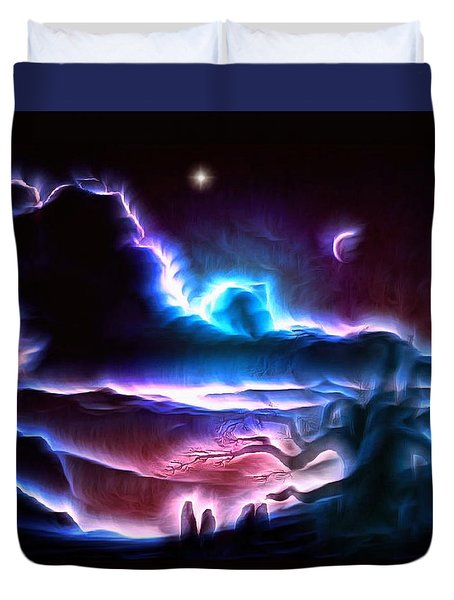 Land Of Nightmares Duvet Cover by Mario Carini