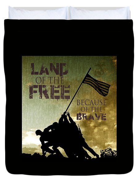 Duvet Cover featuring the digital art Land Of The Free by Dawn Romine