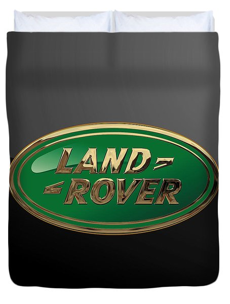 Land Rover - 3d Badge On Black Duvet Cover