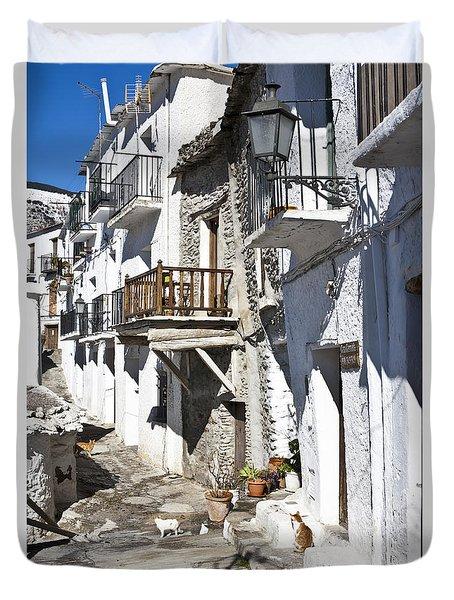 Duvet Cover featuring the photograph Street In Capileira Puebla Blanca by Heiko Koehrer-Wagner