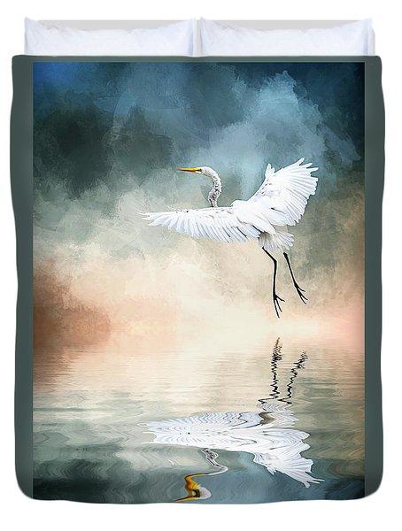Landing At Dawn Duvet Cover by Cyndy Doty