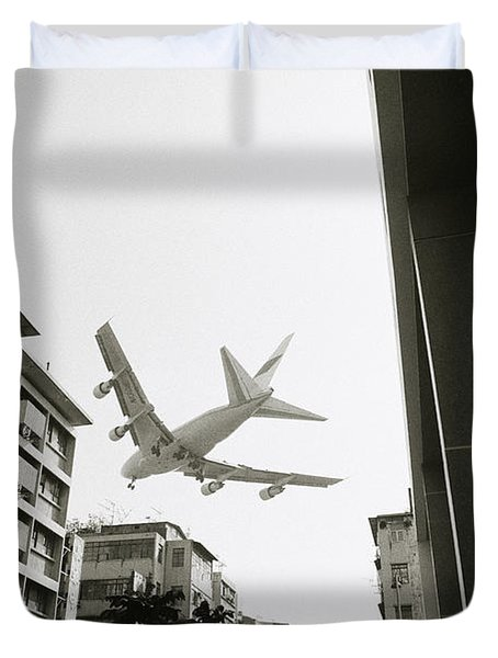 Landing In Hong Kong Duvet Cover