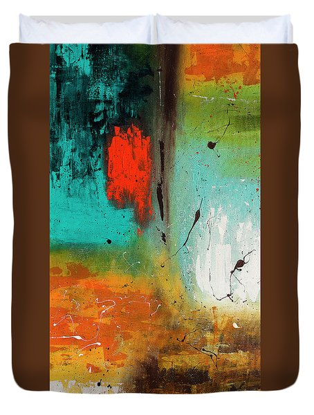 Duvet Cover featuring the painting Landmarks by Carmen Guedez