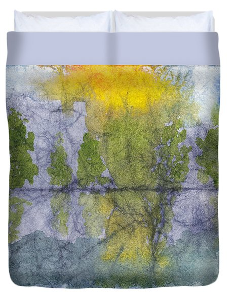 Landscape Reflection Abstraction On Masa Paper Duvet Cover