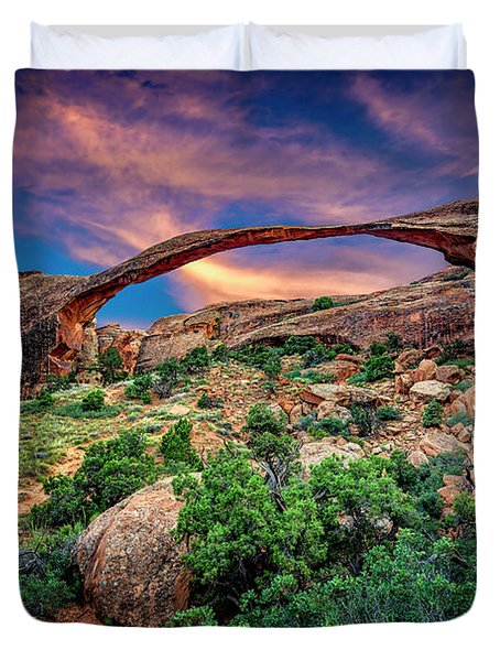 Landscape Arch At Sunset Duvet Cover