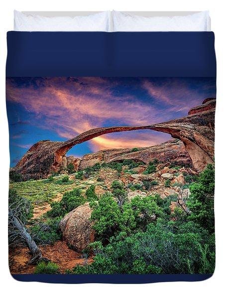 Landscape Arch At Sunset Duvet Cover