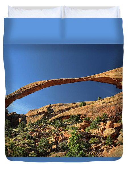 Duvet Cover featuring the photograph Landscape Arch by Dana Sohr