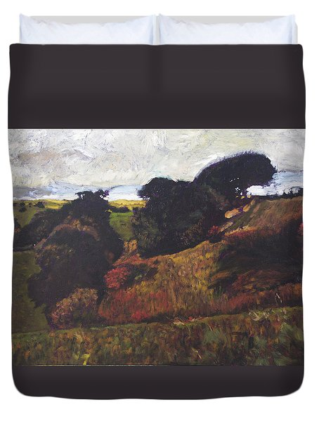 Duvet Cover featuring the painting Landscape At Rhug by Harry Robertson