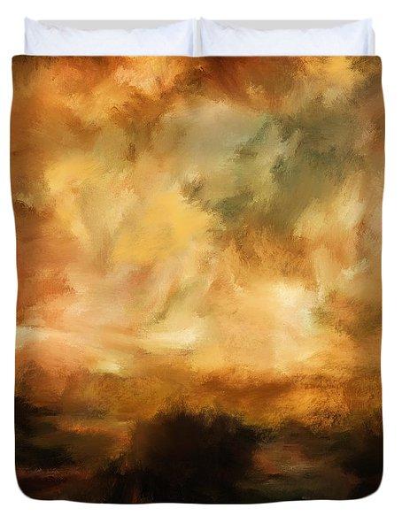 Landscape At Sunset Duvet Cover