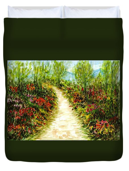 Duvet Cover featuring the painting Landscape by Harsh Malik