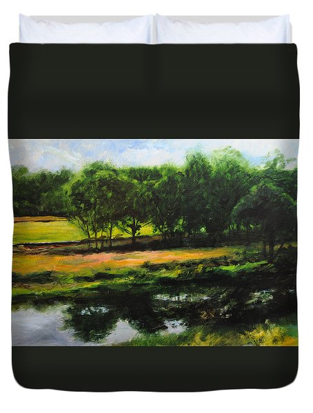 Duvet Cover featuring the painting Landscape In North Wales by Harry Robertson