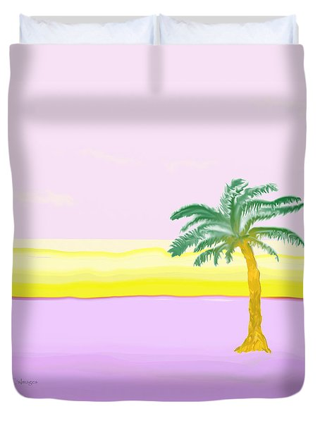 Landscape In Pink And Yellow Duvet Cover