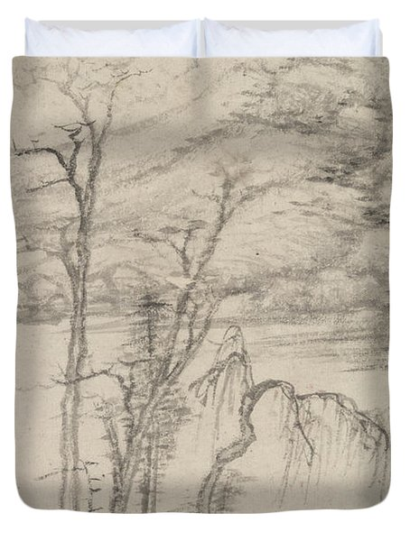 Landscape In The Style Of Various Old Masters In The Style Of Ni Zan Duvet Cover