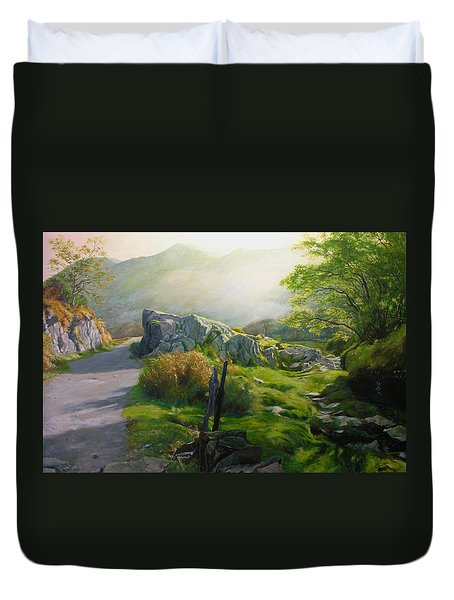 Duvet Cover featuring the painting Landscape In Wales by Harry Robertson