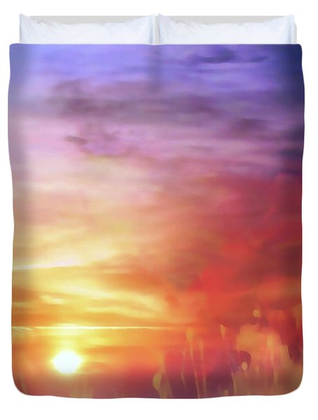 Landscape Of Dreaming Poppies Duvet Cover
