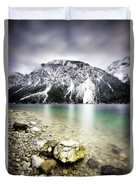 Landscape Of Plansee Lake And Alps Mountains During Winter, Snowy View, Tyrol, Austria. Duvet Cover