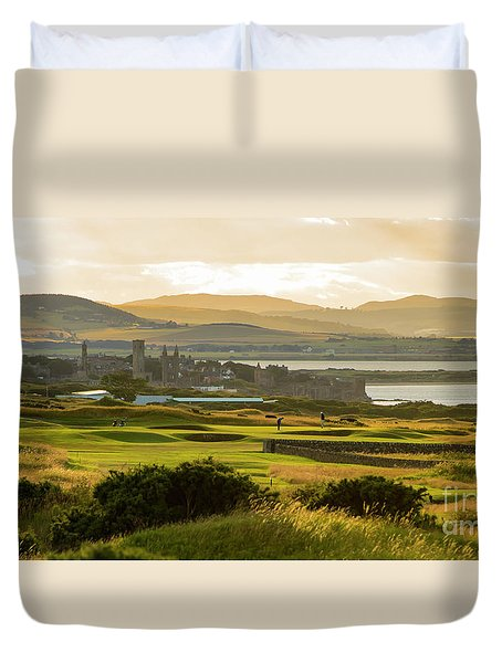 Duvet Cover featuring the photograph Landscape Of St Andrews Home Of Golf by MaryJane Armstrong