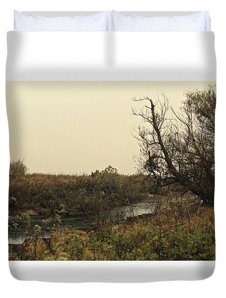 #landscape #stausee #mothernature #tree Duvet Cover by Mandy Tabatt