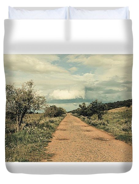 #landscape #stausee #path #road #tree Duvet Cover