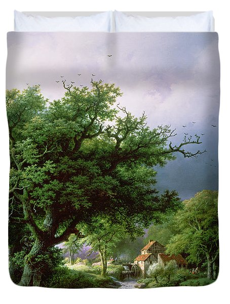 Landscape With A Mill Duvet Cover by Barend Cornelis Koekkoek