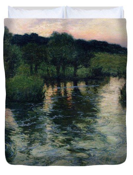 Landscape With A River Duvet Cover by Fritz Thaulow