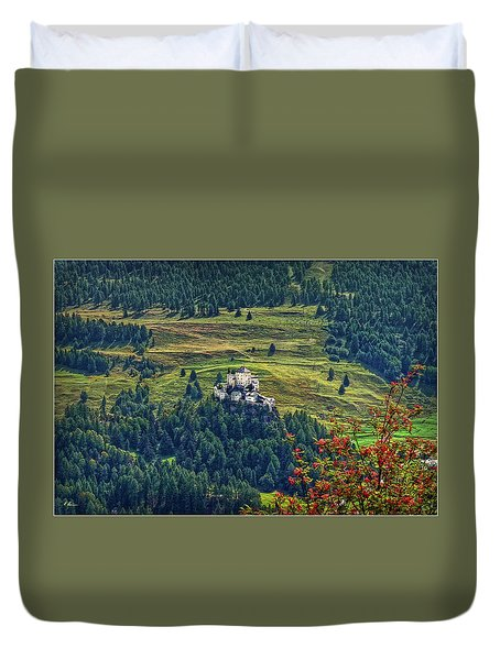 Duvet Cover featuring the photograph Landscape With Castle by Hanny Heim
