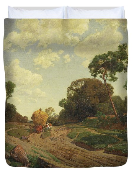 Landscape With Haywagon Duvet Cover by Valentin Ruths