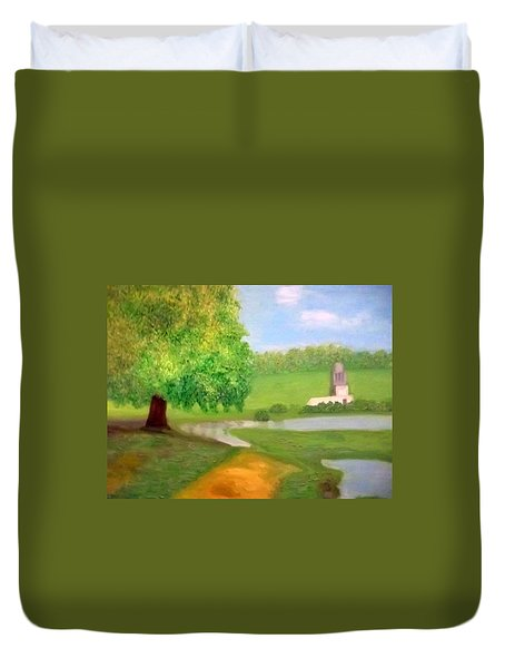 Landscape With Luxuriant Tree And Folly Duvet Cover