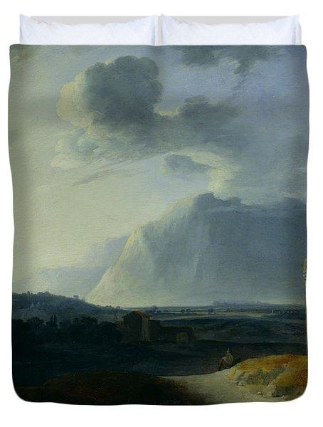 Landscape With Mount Stromboli Duvet Cover