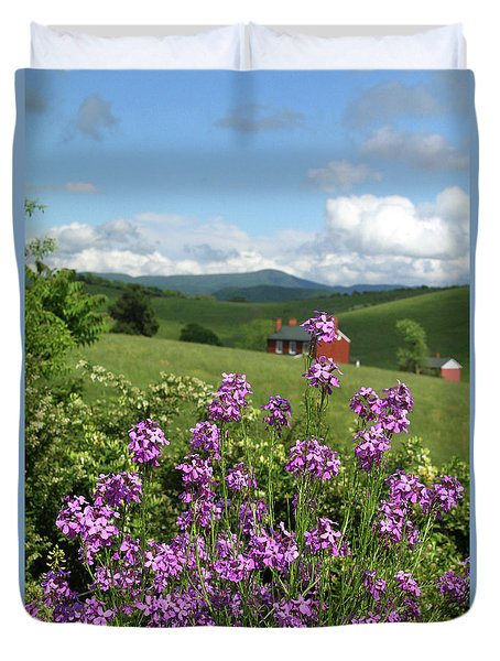 Landscape With Purple Flowers Duvet Cover