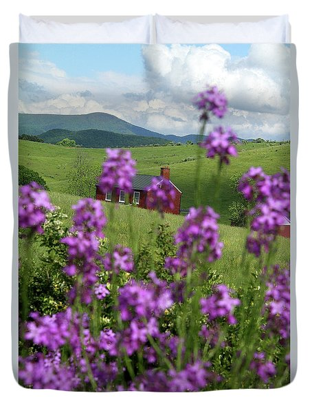 Landscape With Purple Flowers In Virginia Duvet Cover
