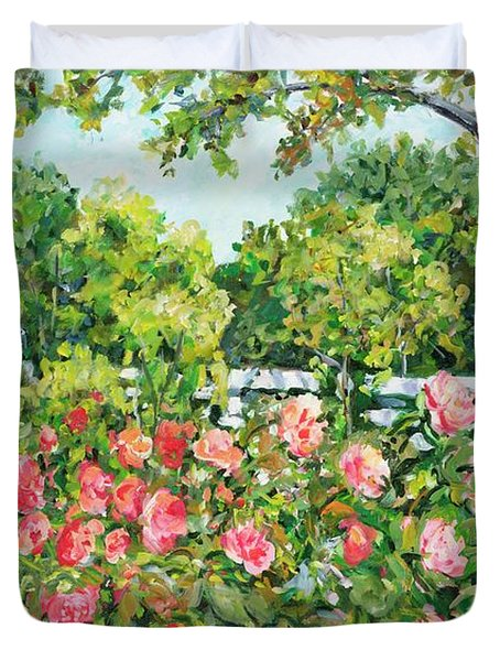 Landscape With Roses Fence Duvet Cover