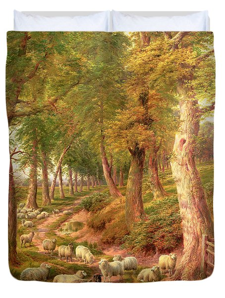 Landscape With Sheep Duvet Cover by Charles Joseph