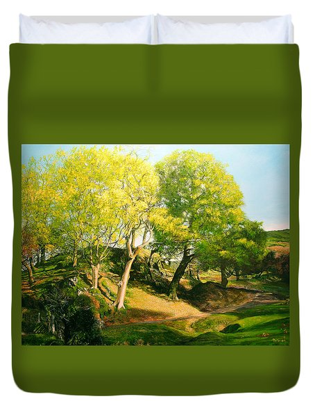 Duvet Cover featuring the painting Landscape With Trees In Wales by Harry Robertson