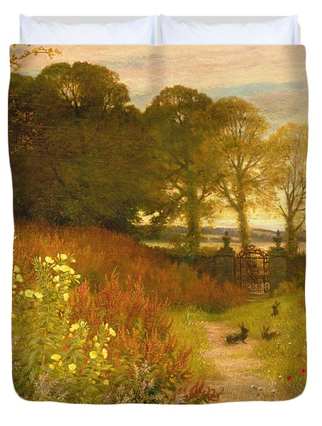 Landscape With Wild Flowers And Rabbits Duvet Cover by Robert Collinson