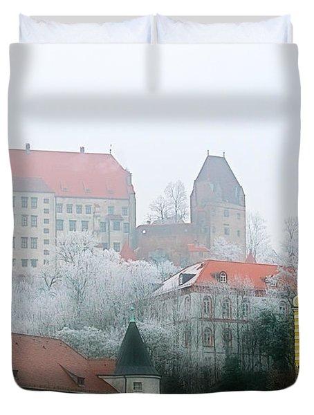 Landshut Bavaria On A Foggy Day Duvet Cover by Christine Till