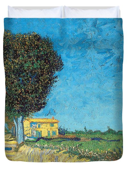 Duvet Cover featuring the painting Lane Near Arles by Van Gogh