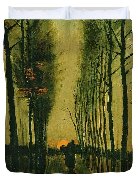 Duvet Cover featuring the painting Lane Of Poplars At Sunset by Van Gogh